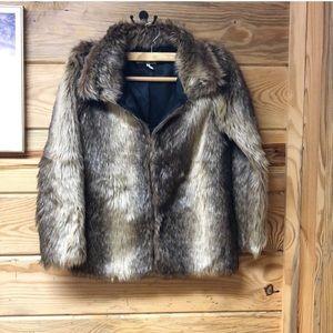 Gorgeous Vintage Faux Fur Coat Jacket Brown Gray
